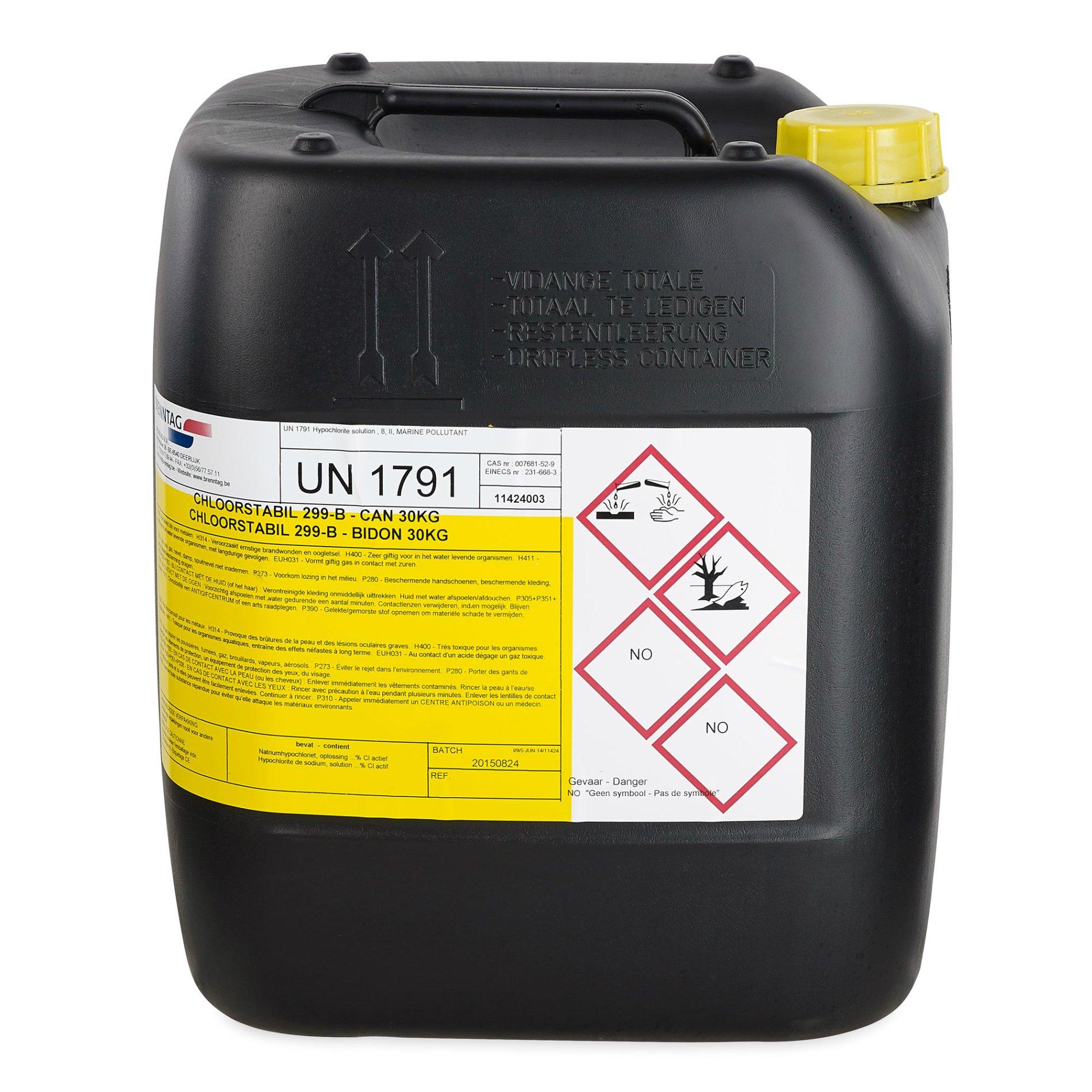 Liquid Chlorine 299-B 20L | Webshop swimmingpools be