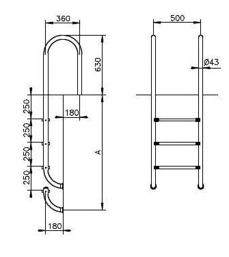 Swimming pool ladder, narrow model 4 steps