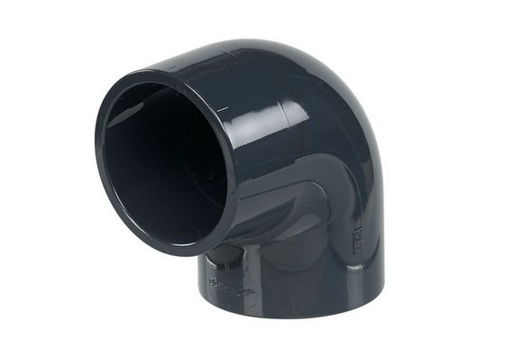 63 mm diameter hard PVC 90° elbow/bend