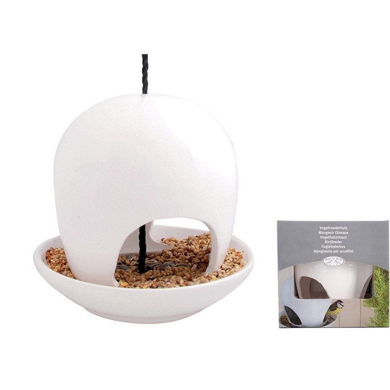 Hanging Ceramic Birdfeeder, White