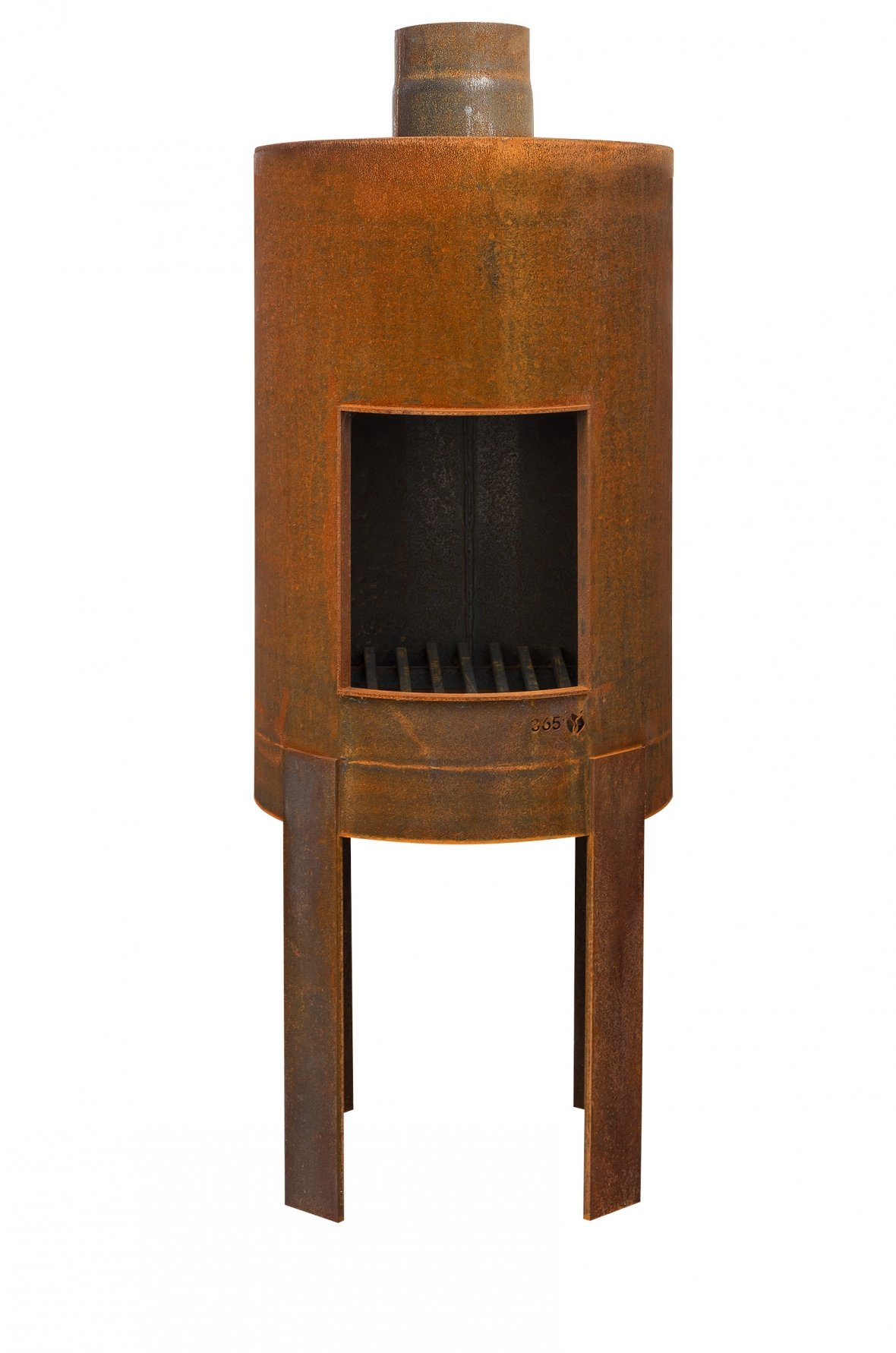 Rust-coloured outdoor oven