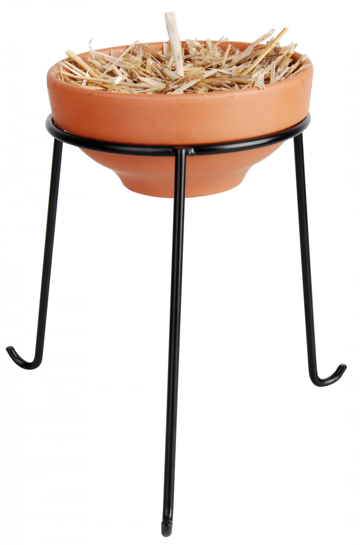 High black metal stand for fire pot