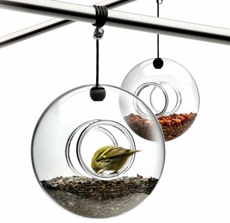 ring-shaped glass bird feeder
