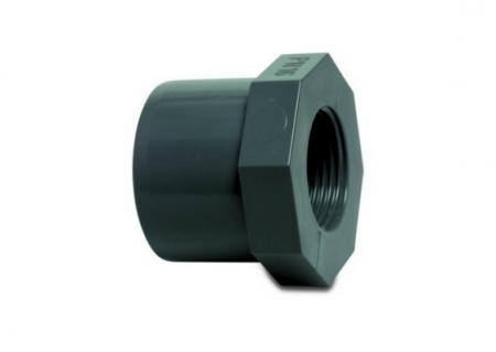 Hard PVC reducer bushing reducing the socket size from 50 mm to 40 mm